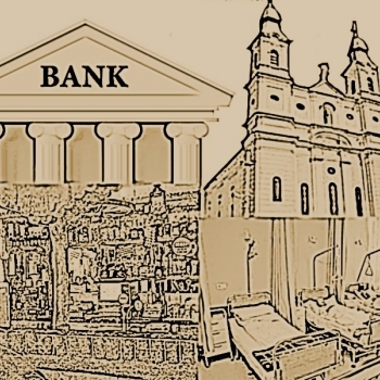 Templom, kocsma, korház, bank